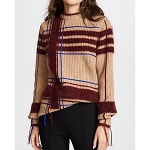 Tory Burch Sweater Eden Plaid Wool Tunic Pullover